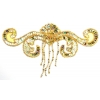 Motif Beaded 19cmx7cm Swirl Shape 1Pc Gold Aurora Borealis
